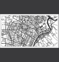 turin italy city map in retro style outline map vector image