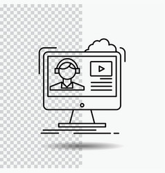 tutorials video media online education line icon vector image