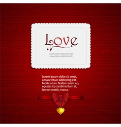 valentine card with ribbon and sample text2 vector image