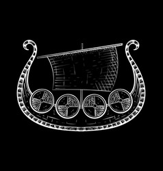 Viking ship hand drawn sketch on black background vector