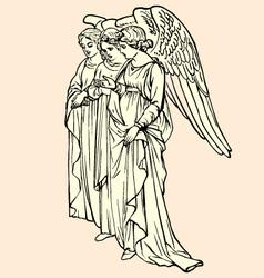 Vintage angels vector