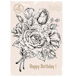 Vintage rose postcard vector