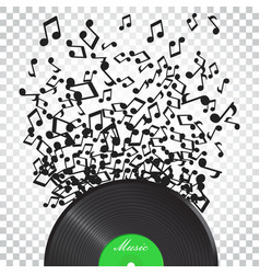 vinyl disk with flying sound note music disk vector image