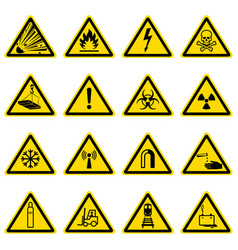 Warning and hazard symbols on yellow triangles vector