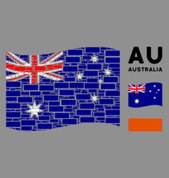 waving australia flag mosaic building brick vector image