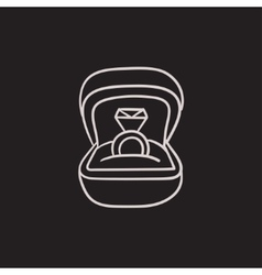 Wedding ring in gift box sketch icon vector image