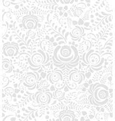 White and grey seamless pattern in Russian style vector image