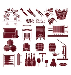 Wine making and wine tasting design elements vector