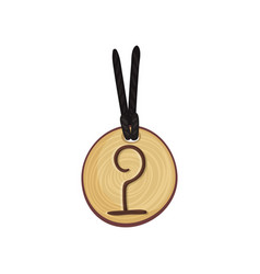 Wooden rune necklace on rope magic symbol on vector