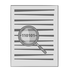 Binary code in magnifier icon monochrome style vector image vector image