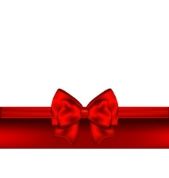 Holiday red background with gift bow and ribbon vector image vector image