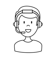 Male call center agent vector