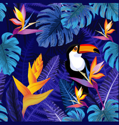 seamless pattern with flowers and toucan bird vector image vector image