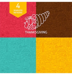 Thin Line Thanksgiving Day Holiday Patterns Set vector image vector image