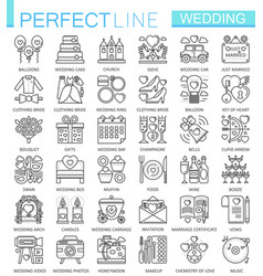 wedding outline concept symbols perfect thin line vector image