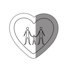 sticker of monochrome contour of heart with family vector image vector image
