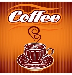 stylized cup of coffee on an abstract background vector image vector image
