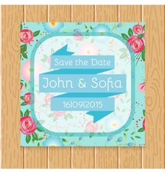 Vintage floral wedding invitation square shape vector image vector image