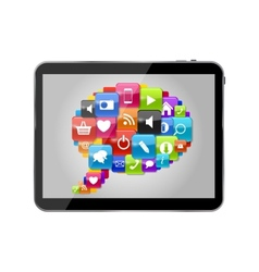 Glass Button Icon Set Speech Bubble on Tablet PC vector image vector image
