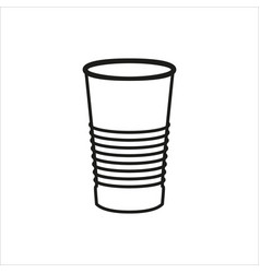 Paper or plastic glass icon on white background vector