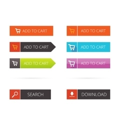 Buttons flat set add to cart search vector image vector image