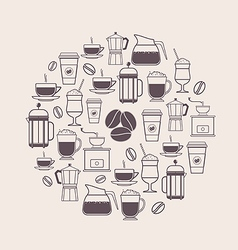Coffee Types and Coffee Accessories Icons Set in L vector image vector image