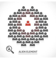 Concept of alien element inside a team vector image vector image