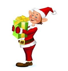 Cute Christmas elf holding a present box vector image