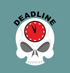 Deadline Skull with a clock Not enough time vector image