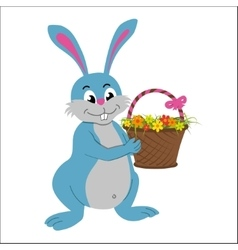 Easter rabbit with basket full of flowers vector image vector image