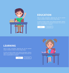 education and learning set of horizontal posters vector image vector image