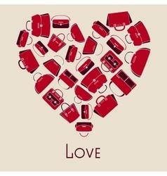 Handbags in heart vector image