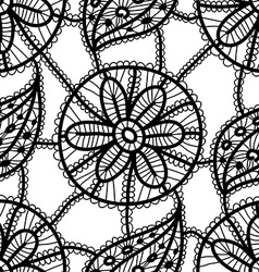 Lace seamless pattern with black flowers and vector image