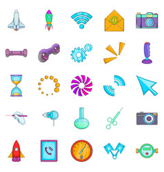 Progressive technology icons set cartoon style vector