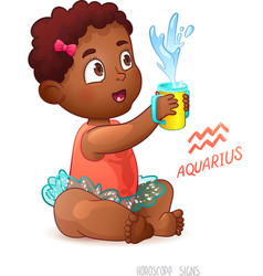 Zodiac sign Aquarius African American Cute Girl vector image vector image