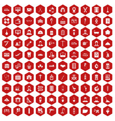 100 craft icons hexagon red vector