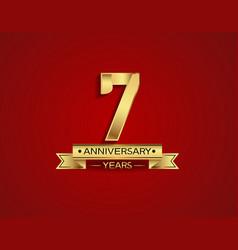 7 years anniversary golden design color vector