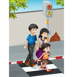 A family crossing the street vector image