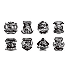 A set of logos emblems a fireman in a gas mask vector