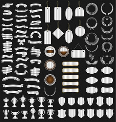 a silver collection various ribbons tags vector image