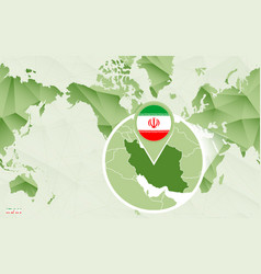 America centric world map with magnified iran map vector