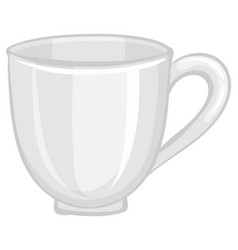 An empty tea cup isolated on white background vector
