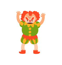 angry red haired clown standing with arms raised vector image