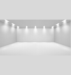 Art gallery empty room with white walls and lamps vector