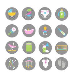 baand kids accessorises icons set vector image