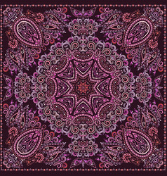 Bandana paisley design- colorful print square vector