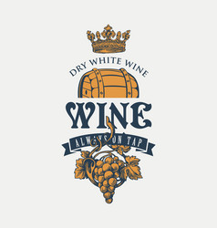 Banner on a wine theme with barrel grapes and vector