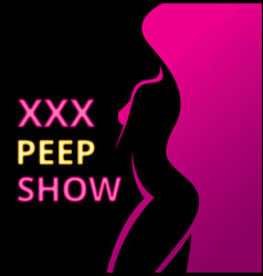 Banner or poster erotic show for adults pip show vector