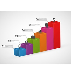 Bar charts 3D colorful infographics design vector