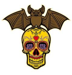 bat stand over sugar skull vector image